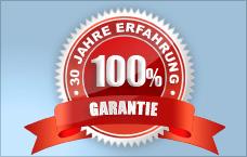 Siegel mit der Aufschrift 100 Prozent Garantie